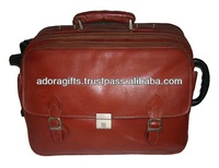 ADATB - 0026 personalized leather travel bags on 2 wheels / fashionable travel luggage bags / stylish travel trolley bags