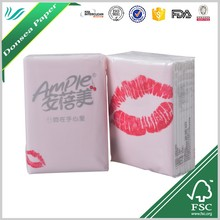 Virgin Pulp Fashion Red Lip Advertising Pocket Pack Handkerchief Mini Facial Tissue for Sale