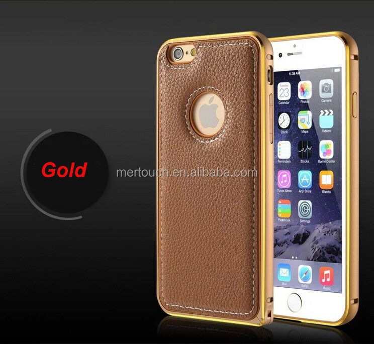 Luxury Gold Lichi stripe phone back cover protector shell Leather PU case for iPhone 6 4.7 inch
