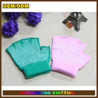 Daily life plain kint multi color dotted non-slip half finger golf knit gloves