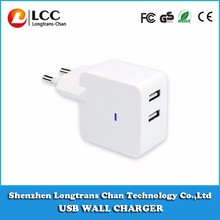 2 Port USB Travel Wall Charger For Mobile phone/iPhone6s/Samsung Galaxy/Smartphone/White Wall Charger