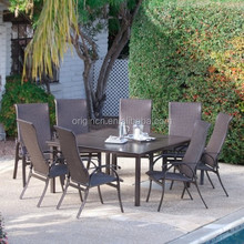 8 person simple design outdoor dining table and high back chair set bellagio wicker garden furniture