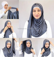 Slip On Amira Style Cotton/Modal Plain Solid Jersey Scarf Instant Hijab