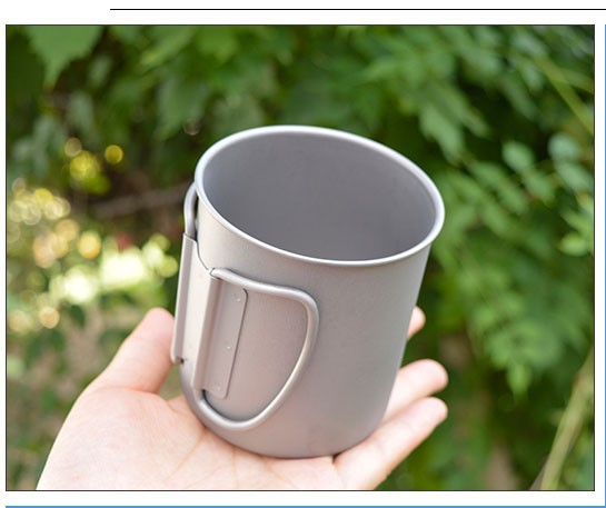 300ml single wall titanium travel Camping Coffee Mug wholesale with folding handle