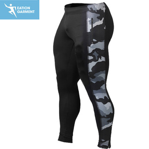 polyester/spandex sublimated long tights pants mens athlete running gym leggings