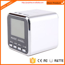 Music Angel JH-MD08D LCD screen memory SD/TF card FM mini speaker promotion 2014 new product new gadgets 2014