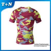 Sublimation Design Your Own Fitness Wear Slim Fit Bodybuilding Short Sleeve Custom Compression Shirts