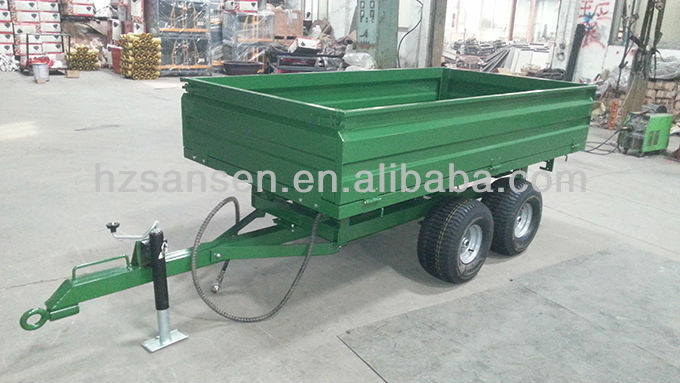 Tipping Trailer atv tipper trailer for tractor off road trailer tandem axle, small wheel heavy duty golf lawn tractor dump cart
