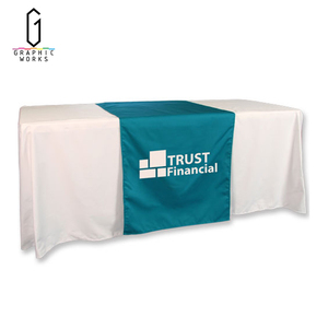 Gold satin full printed fitted trade show table cloth