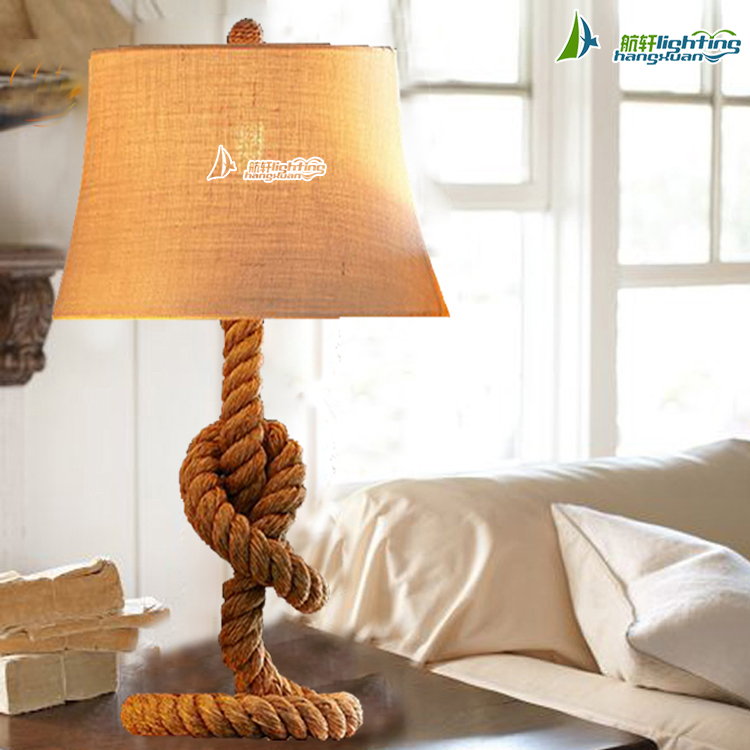 Hemp rope study table lamp iron modern table light for hotel HXT7901