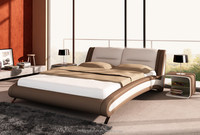Genuine leather bed and modern bedroom set