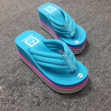 Non-Slip Platform Shoes Fashion High-Heeled Slippers Candy Colored Striped Bottom Beach Sandals Casual Flip Flop