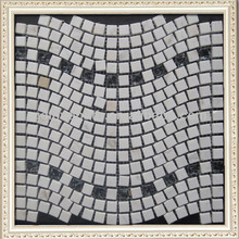 New Design!!! wave pattern back white glass mix stone mosaic tile
