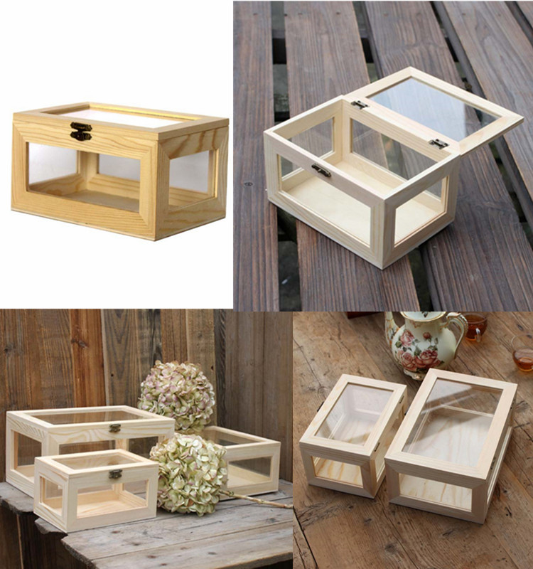 Square Shape Solid Wooden Jewelry Box with Transparent Glass