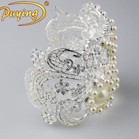 Trade assurance Puying wholesale price fashion open wide cuff jewelry pearl bangle design charm bracelet for women