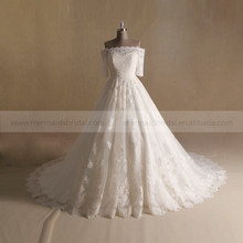 Princess Style A- Line Lace 3/4 Sleeve Wedding Dress Long Gorgeous Tail
