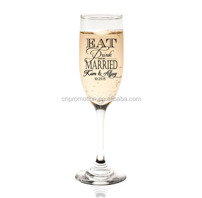 5.5 Oz.crystal Arcylic plastic custom printed fluted wine glasses champagne flute glasses for party