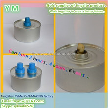 Enough burning time gel fuel inside round metal tin can screw top