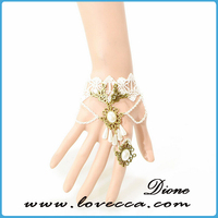 New European style adjustable cotton cordon bracelet, White Lace Bracelets, adjustable bride metal Bracelets
