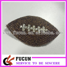 hot sale custom beaded crystal rhinestone football pattern applique iron on patch applique for clothing