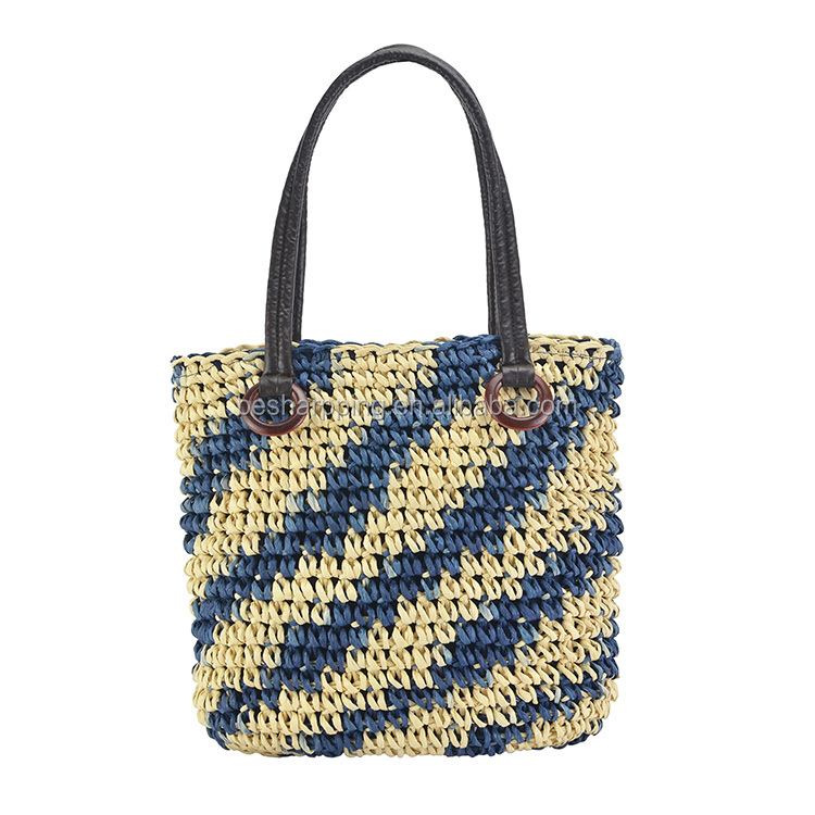 2019 Latest Design Straw Woven handbags Zipper Casual Shoulder Tote Summer Beach Bag for Woman
