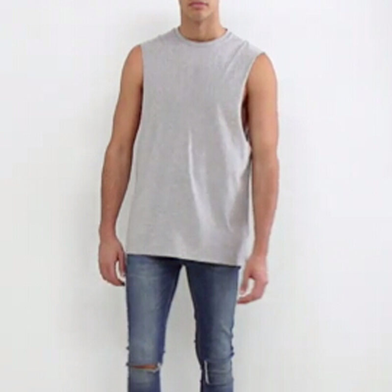 2017 Soft-touch sleeveless T-shirt with dropped armhole crew neck line Jersey