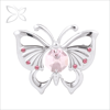 Crystocraft Chrome Plated Metal Butterfly Decorated with Crystals from Swarovski Brooches Wedding Jewellery Accessory