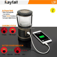 Factory OEM multifunctional outdoor waterproof rechargeable led camp light with phone charger