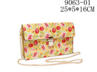 Stylish Flower-Print Metal Chain Women PU Cross Body Messenger Bag