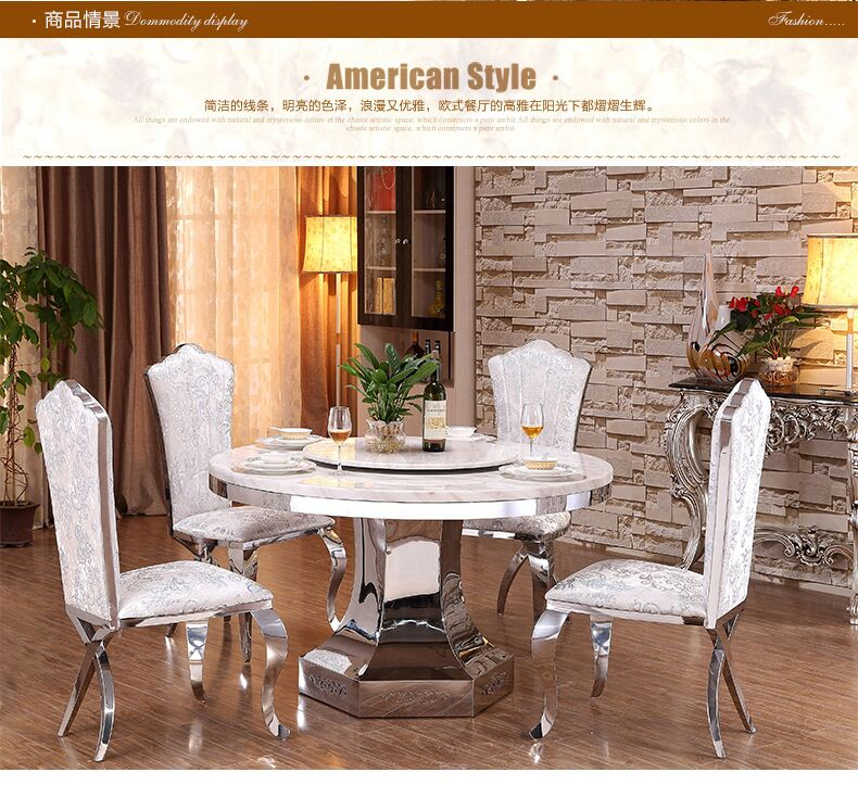 Modern royal dining room stainless steel table and chairs