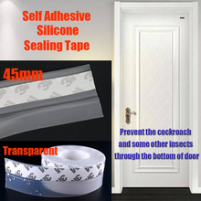 45mm Transparent 3M Adhesive Silicone Rubber Door Bottom Seals Draught Excluder Weatherstripping Sealing Strips