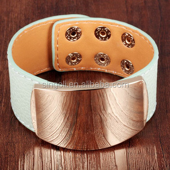 Alibaba Jewelry Leather Cuff Bracelet Pulseras 3 Row Gold Plated Monogram Leather Cuff For Women Men