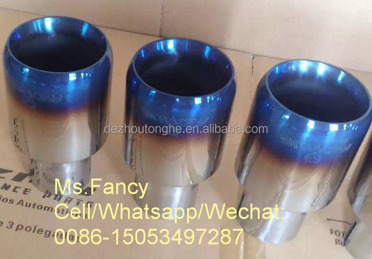 Fit Hole Diameter 67mm 2.60 inches Titanium Blue Silver Tone 6.7cm Inlet Exhaust Pipe Muffler Tip for Car Auto