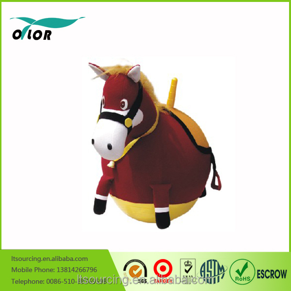 Horse cover skipping ball/ plush cover animal hopper ball/ cute cover with inflatable pvc jumping ball inside