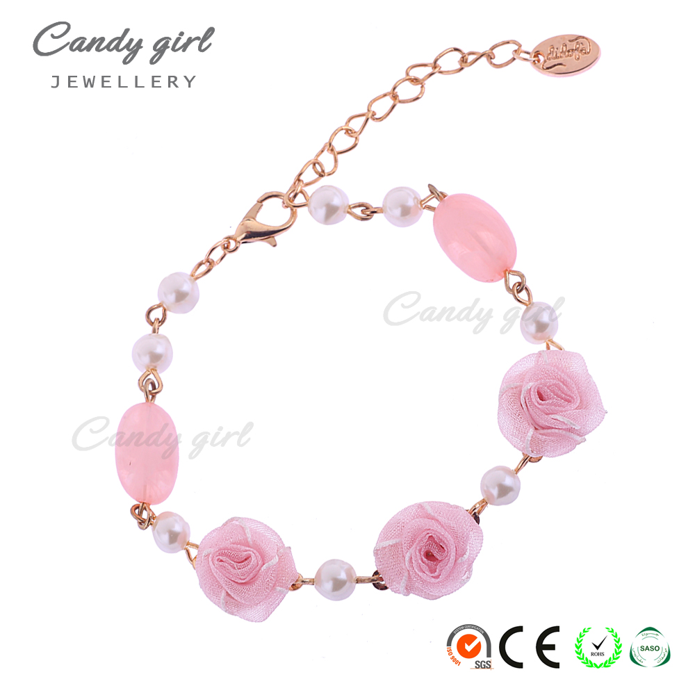 Candygirl brand custom pure handmade women fashion pearl jewelry beads chain pearl bracelet