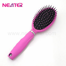 Hot pink color rubber finish oval plastic head professional hair brush