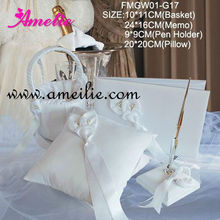 A0631 Ivory color wedding accessories wedding ring pillow set
