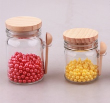 150ml bulk <strong>glass</strong> candy <strong>jar</strong> with wooden lid and wooden spoon