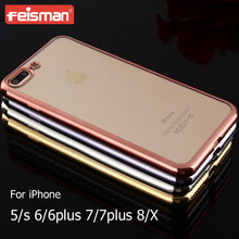 Cell Phone Accessories Clear Electroplating Soft TPU Transparent Case for iphone X 8 6 6s 5 7 plus