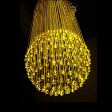 150W remote controlled hotel,bar,shop decoration plastic fiber optic colored round chandeliers with crystal end fittings