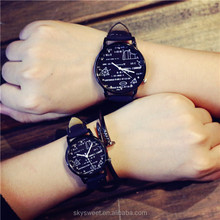 China watch factory black white face colors men quartz watches,fancy math case watch couple(SWTPW13)