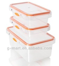 wholesale stocked 3-Piece plastic food lock storage container set