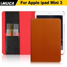 Immediate delivery! Imported Italy genuine leather case for ipad mini 3 wallet case for apple ipad mini 3 smart cover