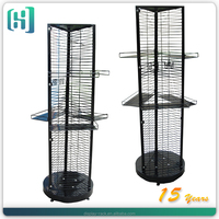metal 3 sided rotating spinning hook point of sale display stand turkey HSX-S0115