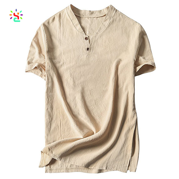 Vintage man linen and cotton v neck causal short sleeve mens button t shirt