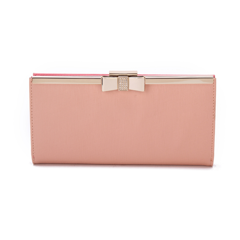 New style design hot selling pink color metal clutch long leather card wallet for women