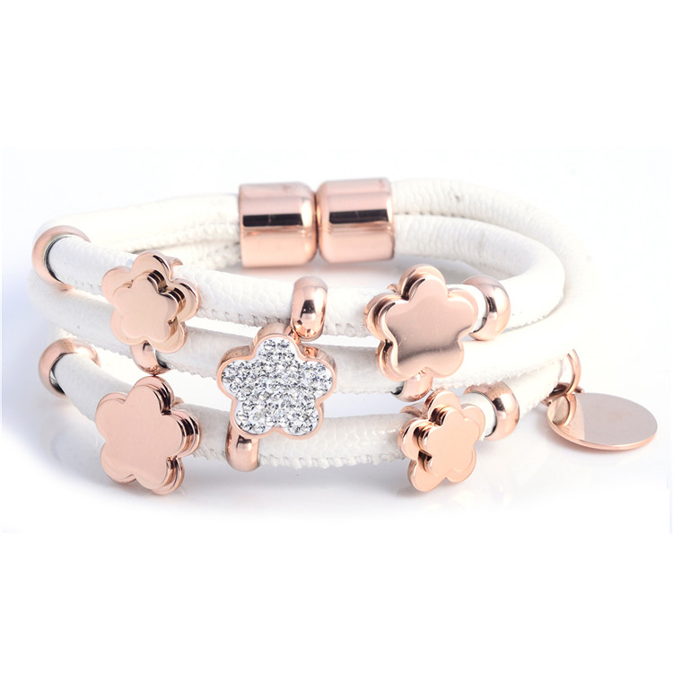 Wholesale Women Fashion Vintage Cuff Double Four Leaf Clover Bracelet Bangles