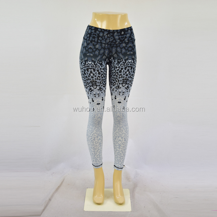 Fashionable leopard print sublimation yoga pants girls with custom OEM/ODM service
