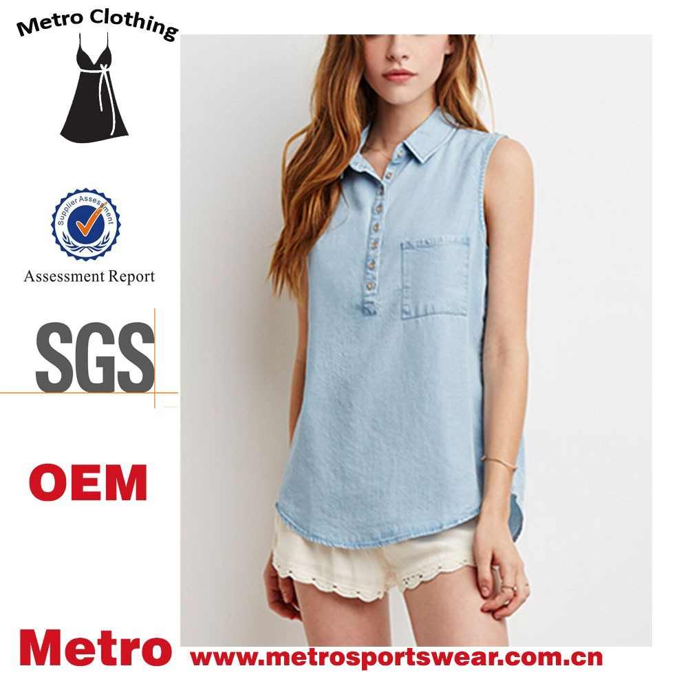 Custom Women Fashion Light Blue Sleeveless Denim Shirts - Buy ...