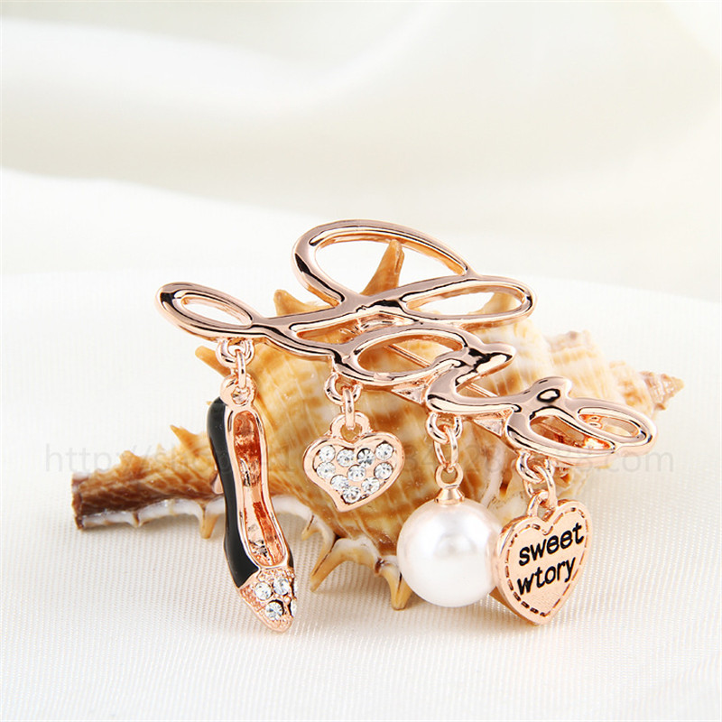 Alphabet LOVE with garment and hat high-heeled shoes heart and pearl crystal rhinestone letter brooch pin